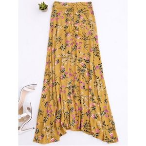 Dresses & Skirts - Mustard yellow boho Maxi skirt, floral pattern